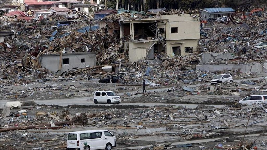 Una vista general de Rikuzentakata (prefectura de Iwate), una de las localidades arrasadas por el tsunami de Japón. EFE