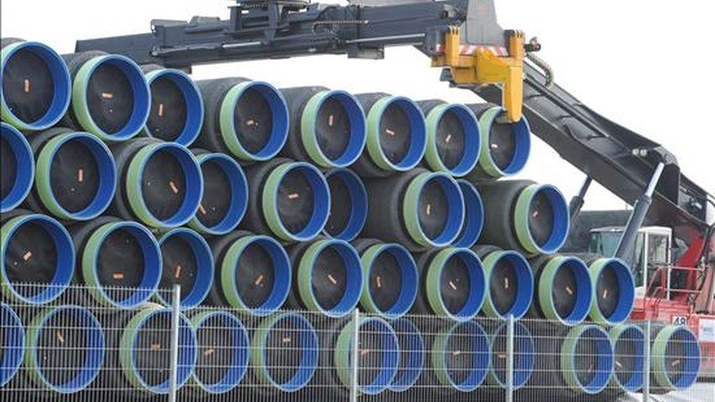 Vista de varias secciones de tubería de un gaseoducto. EFE/Archivo