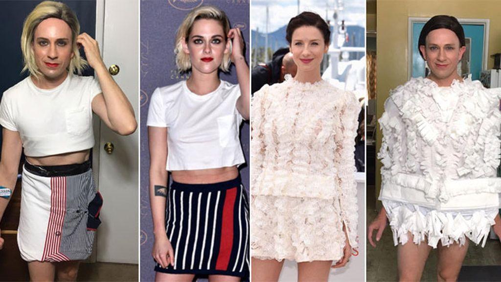 Hace un Kristen Stewart con dos camisas y de Caitriona Balfe con pañuelos de papel