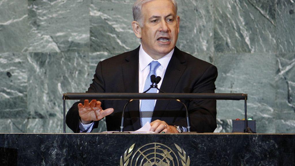 El primer ministro israelí, Benjamin Netanyahu, en su discurso en la ONU tras la petición de Mahmud Abbas para que sea reconocido el Estado Palestino.