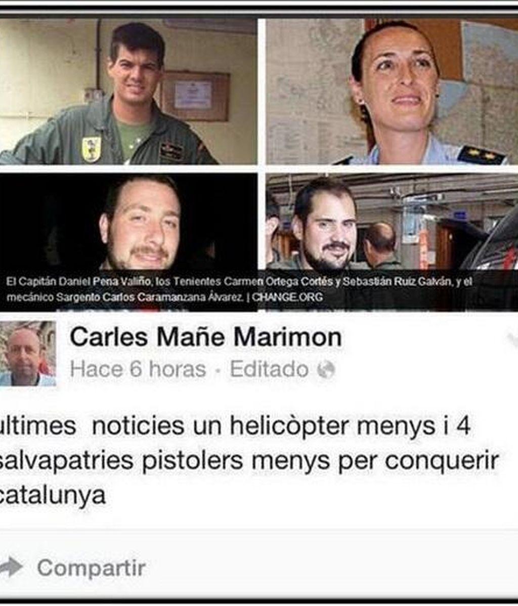 Tuit con comentarios ofensivos sobre la muerte de cuatro militares españoles en Canarias