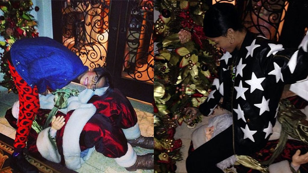 Rihanna, juguetona con Papá Noel