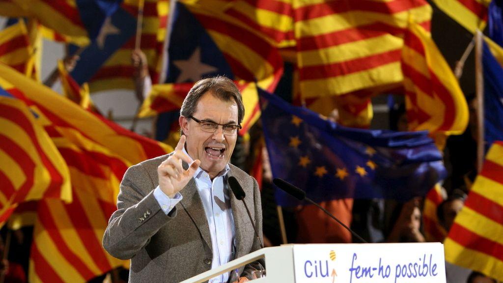 Artur Mas durante el acto electoral celebrado hoy en Sabadell (Barcelona). Foto:EFE