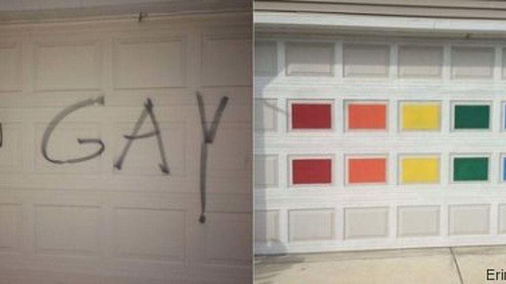 Pinta su garaje con los colores del arcoíris como respuesta a la homofobia