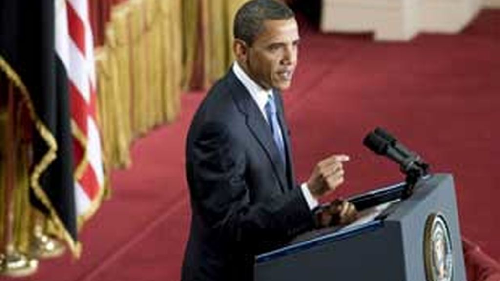 Obama ha asegurado que la única solución al conflicto en Oriente Medio es la coexistencia de dos Estados, el israelí y el palestino, durante su discurso en el palacio Quba en El Cairo (Egipto). Vídeo: ATLAS