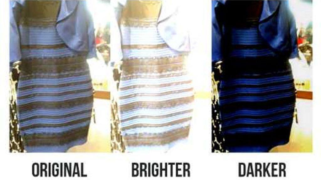 ¿De qué color es el vestido, blanco y dorado o negro y azul?