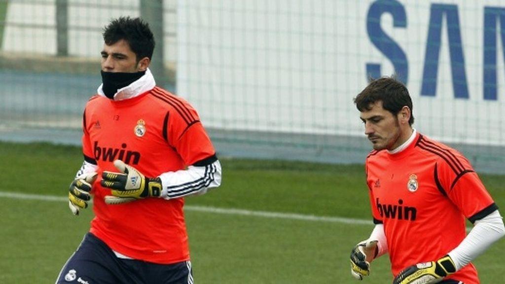 Antonio Adán e Iker Casillas durante un entrenamiento en este mes de enero