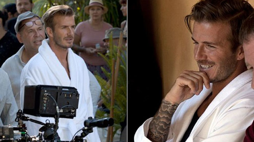Se pudo ver a David Beckham en albornoz durante el rodaje del anuncio para H&M