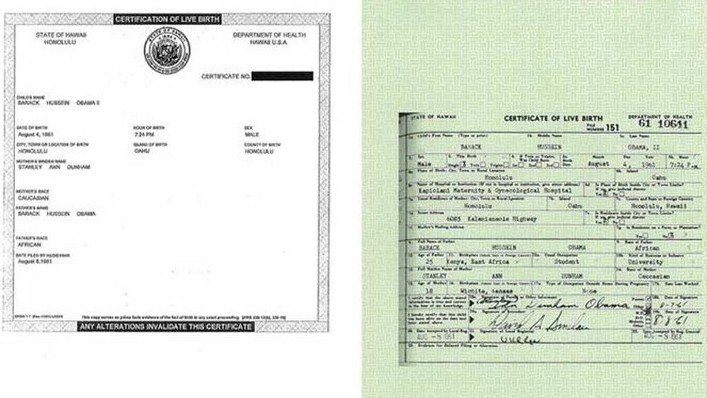 Imágenes cedidaspor la Casa Blanca del certificado de nacimiento del presidente estadounidense Barack Obama (izda) y la versión completa del mismo (dcha).