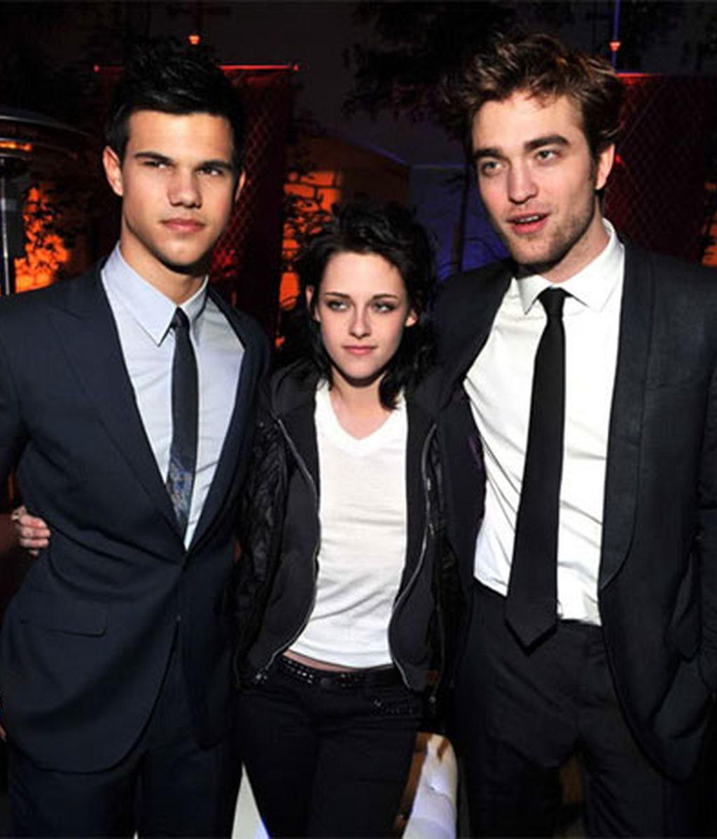 Taylor Lautner, Kristen Stewart y Robert Pattinson. Foto: AP.