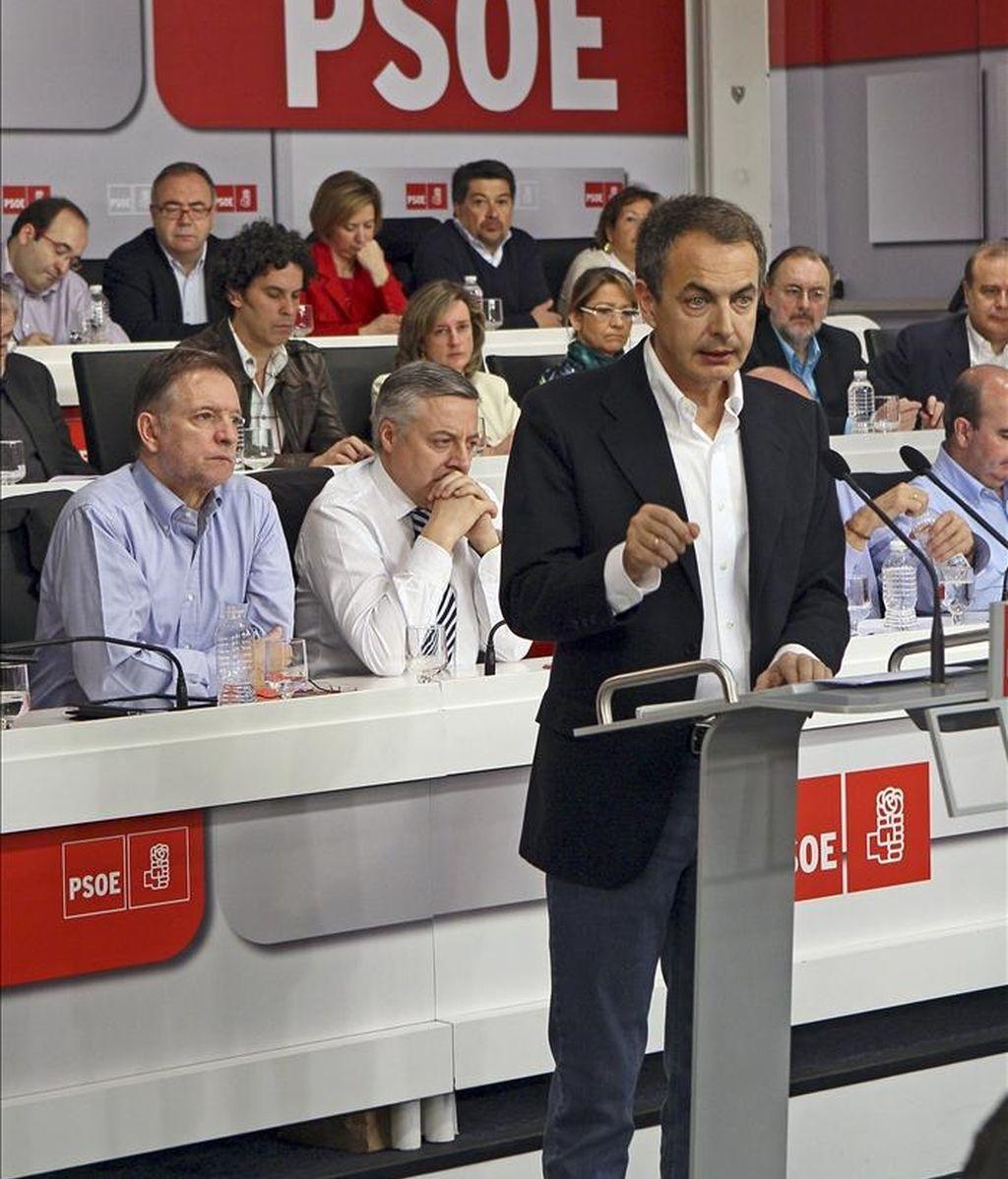 Fotografía facilitada por el PSOE del presidente del Gobierno, José Luis Rodríguez Zapatero, quien ha anunciado hoy que no volverá a ser candidato en las próximas elecciones generales en su intervención ante el Comité Federal del partido socialista celebrado en Madrid. EFE