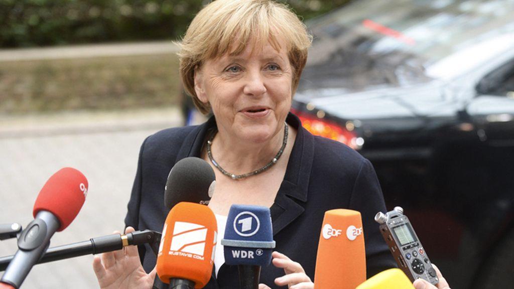 Angela Merkel a su llegada al Eurogrupo