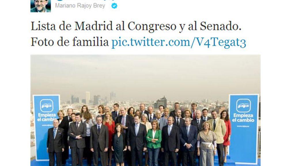 La boina de contaminación de Madrid, en la foto de familia de Rajoy en Twitter