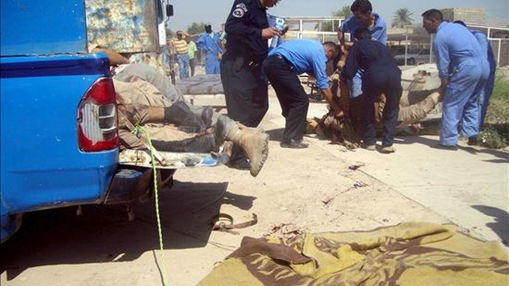 Varios policías y empleados del depósito de cadáveres iraquíes retiran los cuerpos de los fallecidos en la localidad de Mahmudiya, a unos 30 km al sur de Bagdad (Irak) tras el atentado suicida registrado hoy. Al menos 43 personas han muerto y otras 40 resultaron heridas. EFE