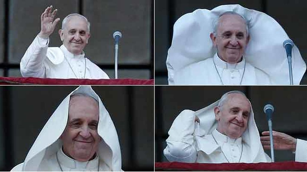 El viento le juega una mala pasada al papa Francisco
