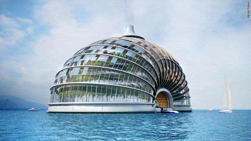 'El Arca', un edificio futurista que puede flotar y albergar hasta 10.000 personas, ha sido diseñado por un arquitecto ruso. Foto CNN