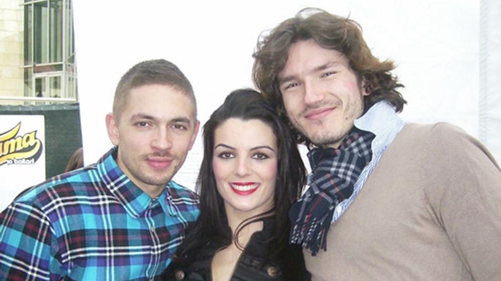 Paula con Benji y Pepe en Bilbao