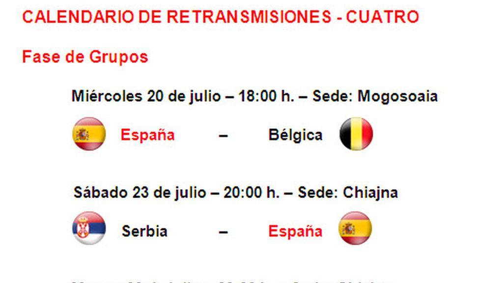 Calendario de partidos de la selección Sub-19 en el Europeo 2011