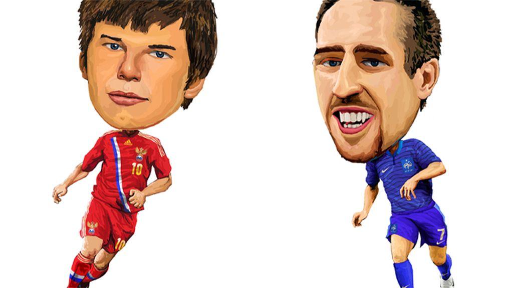 Arshavin (Rusia) y Frank Ribery (Francia)