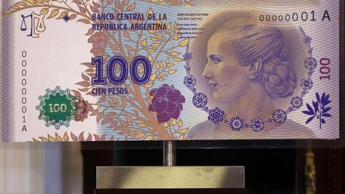 Billete argentino con la imagen de Evita Perón