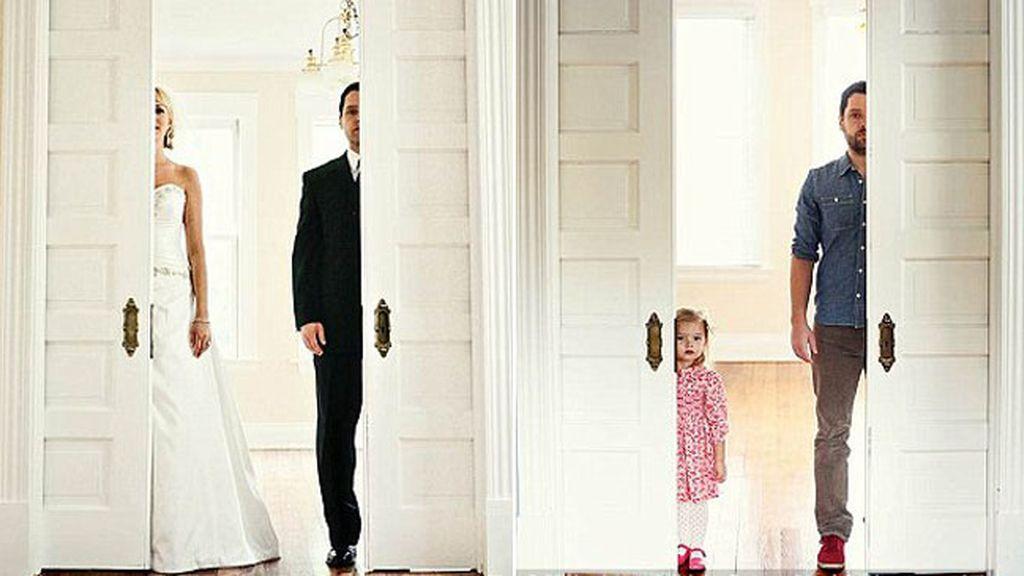 Recrea las fotos de su boda, pero ahora con su hija