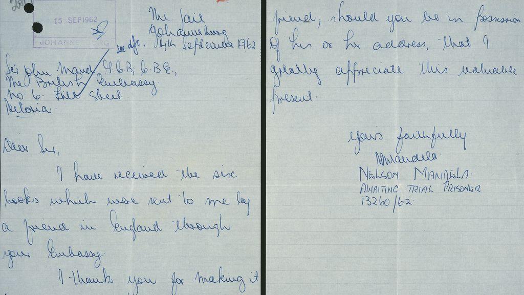 Carta de Mandela durante su estancia en prisión