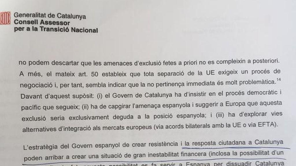 Documento interno de la Generalitat alertando de un posible corralito si Cataluña se independiza