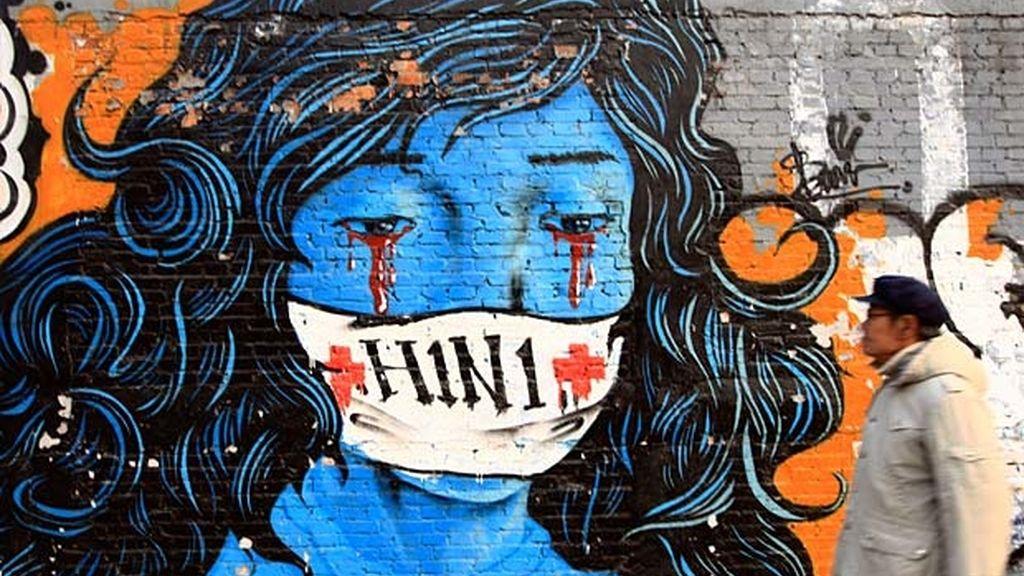 El miedo a la Gripe A se cuela en el arte callejero en China