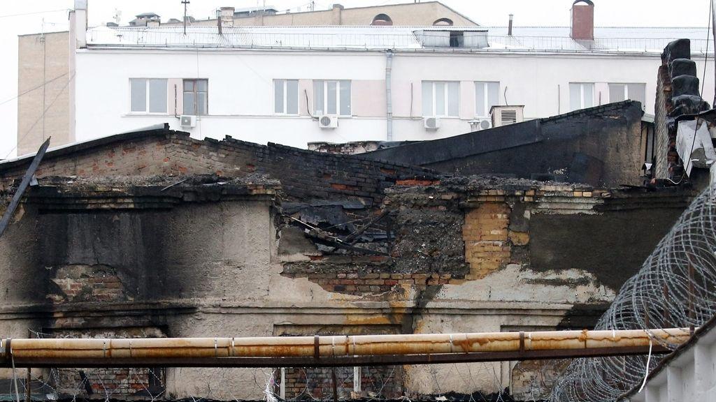 Fábrica quemada en Moscú