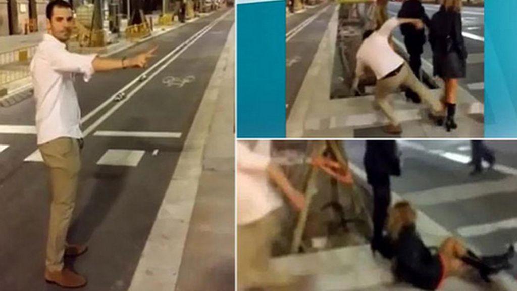 Brutal patada en Barcelona