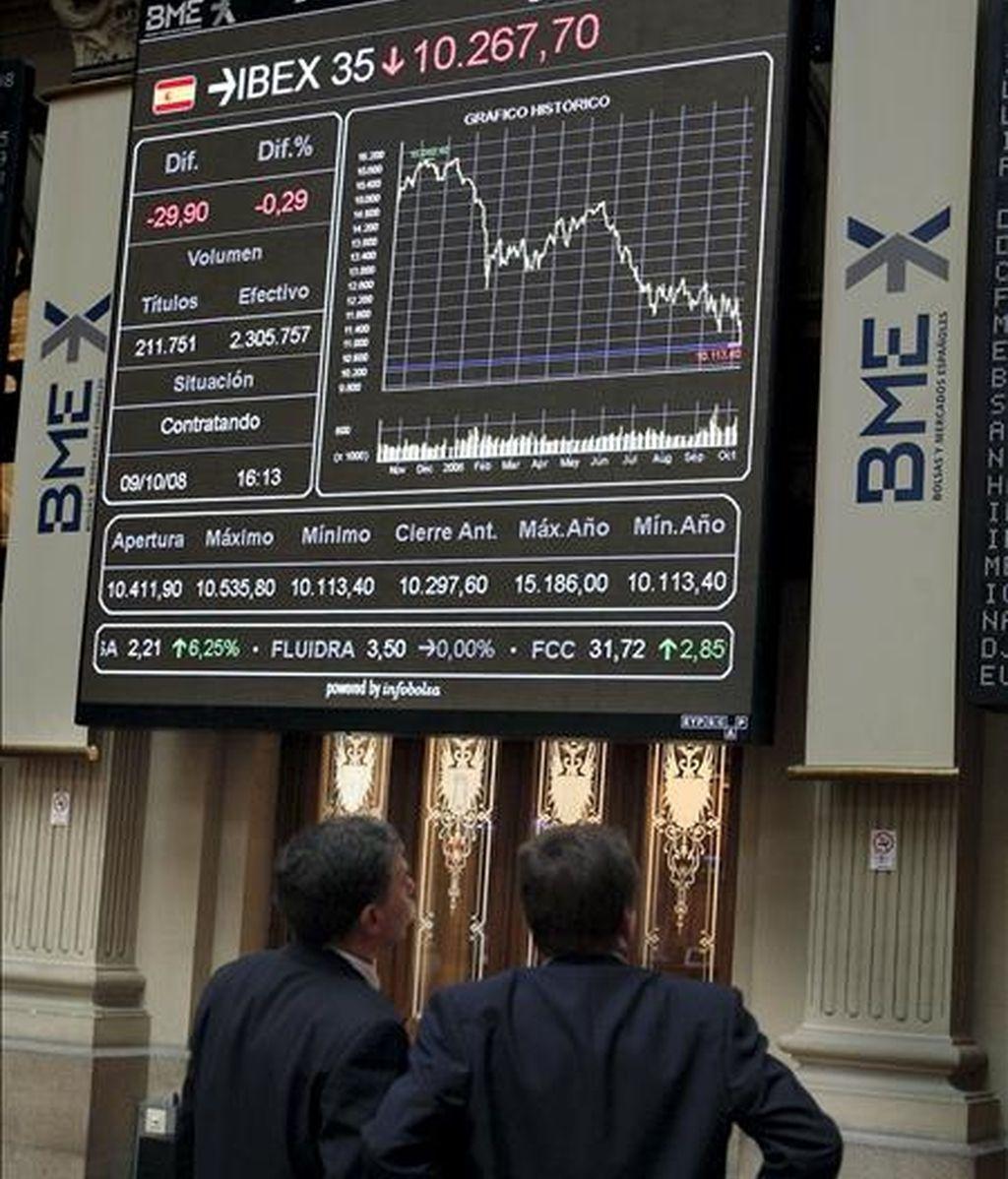 El Ibex bate al resto de mercados europeos en los primeros meses de 2009. En la imagen, la Bolsa de Madrid. EFE/Archivo