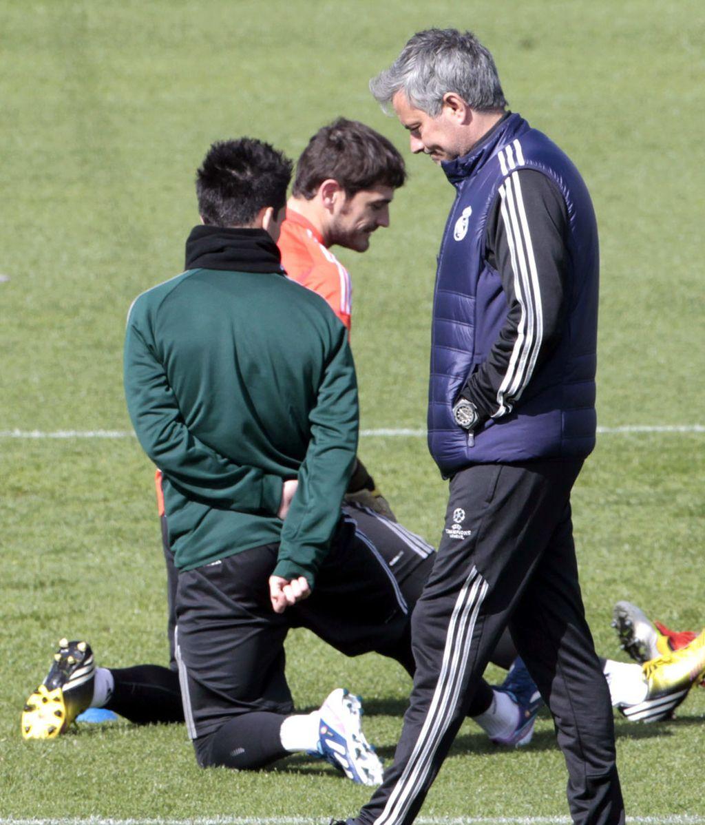 Casillas durante el entrenamiento previo al partido de Champions ante el Galatasaray