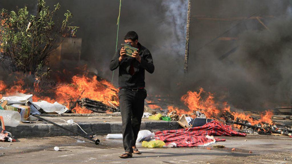 Manifestante en El Cairo, Egipto