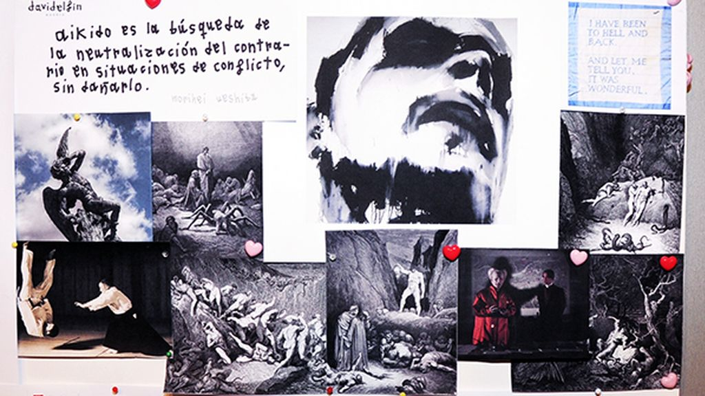 El inspiration board de David Delfín reflejaba perfectamente la colección INFERNO