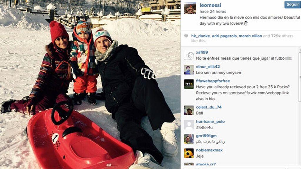 Messi, día libre en la nieve