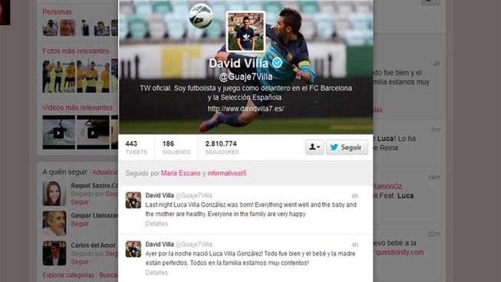 David Villa ha sido padre de un niño