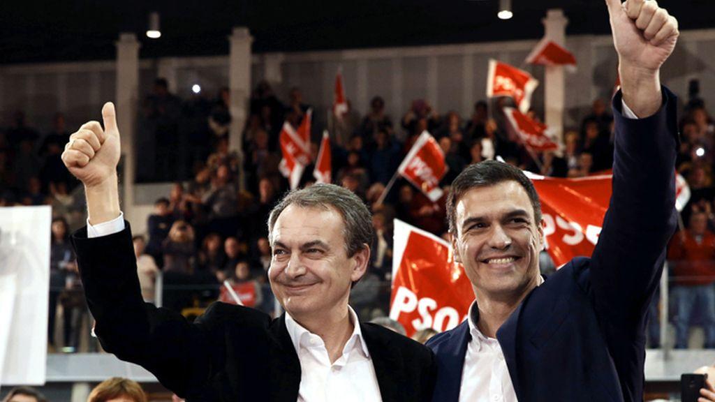 Pedro Sánchez y Zapatero protagonizan un mitin del PSOE en Gijón