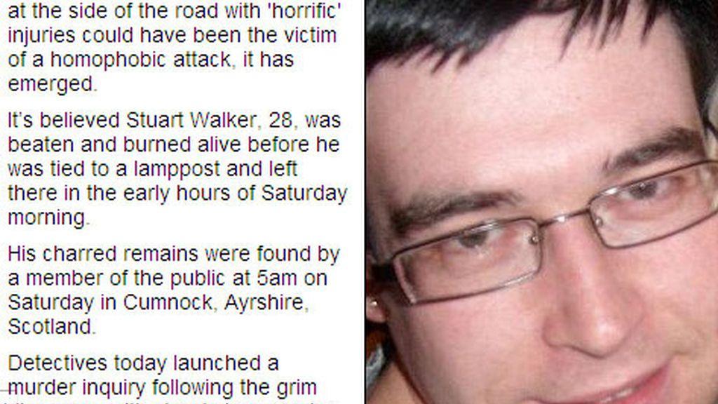 Stuart Walker, de 28 años, fue golpeado y quemado vivo en Escocia
