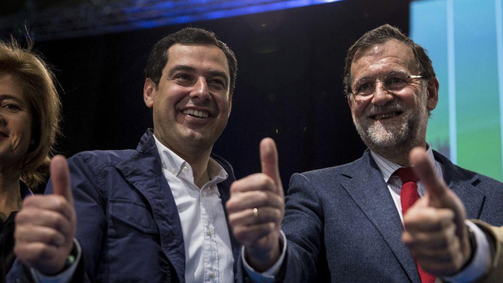 Mariano Rajoy y Moreno Bonilla en un mitin en Málaga
