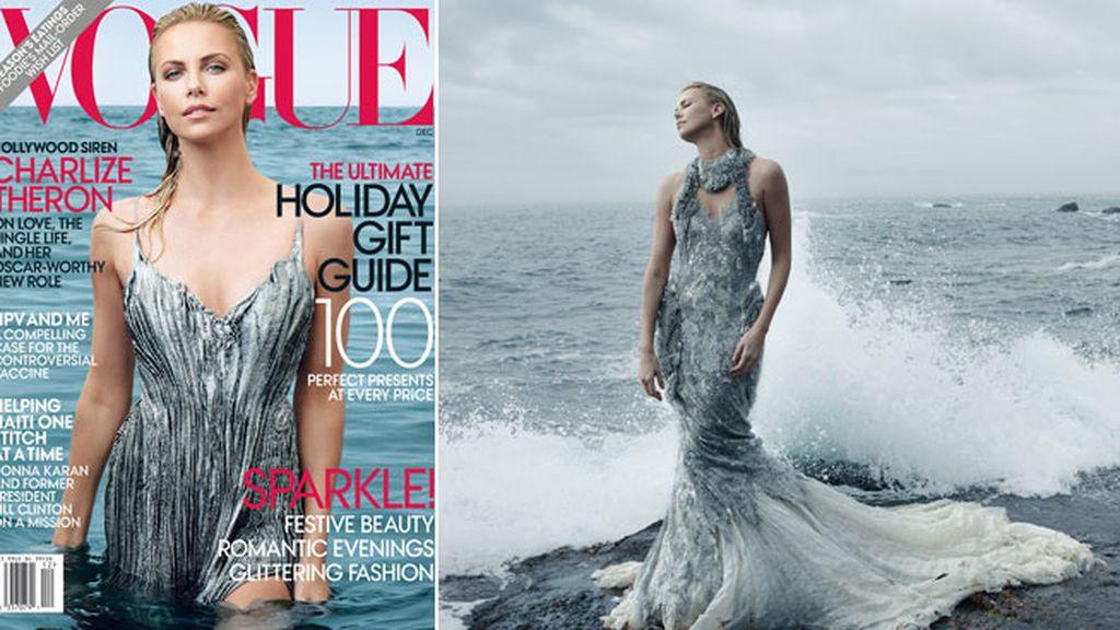 Charlize Theron como una sirena para 'Voghe'