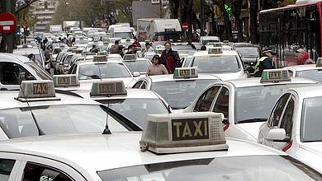 Taxistas colapsando Madrid