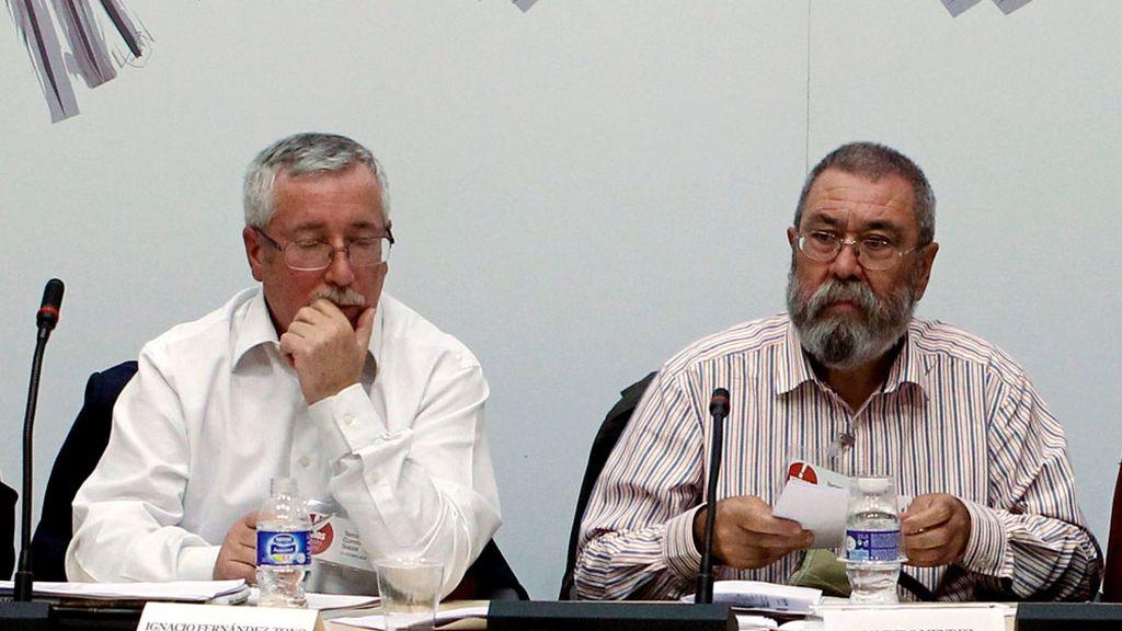 Ignacio Fernández Toxo y Cándido Méndez en el tercer encuentro de la Cumbre Social celebrado en Madrid