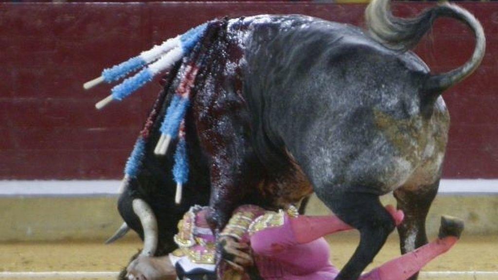 Juan José Padilla sufre una cogida en la cara en Zaragoza