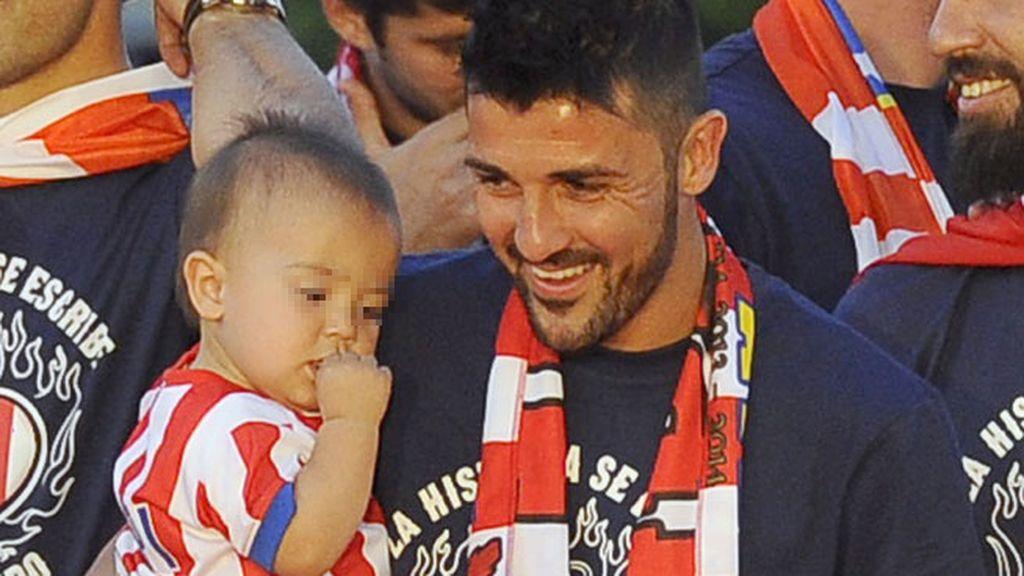 David Villa y su hijo Luca