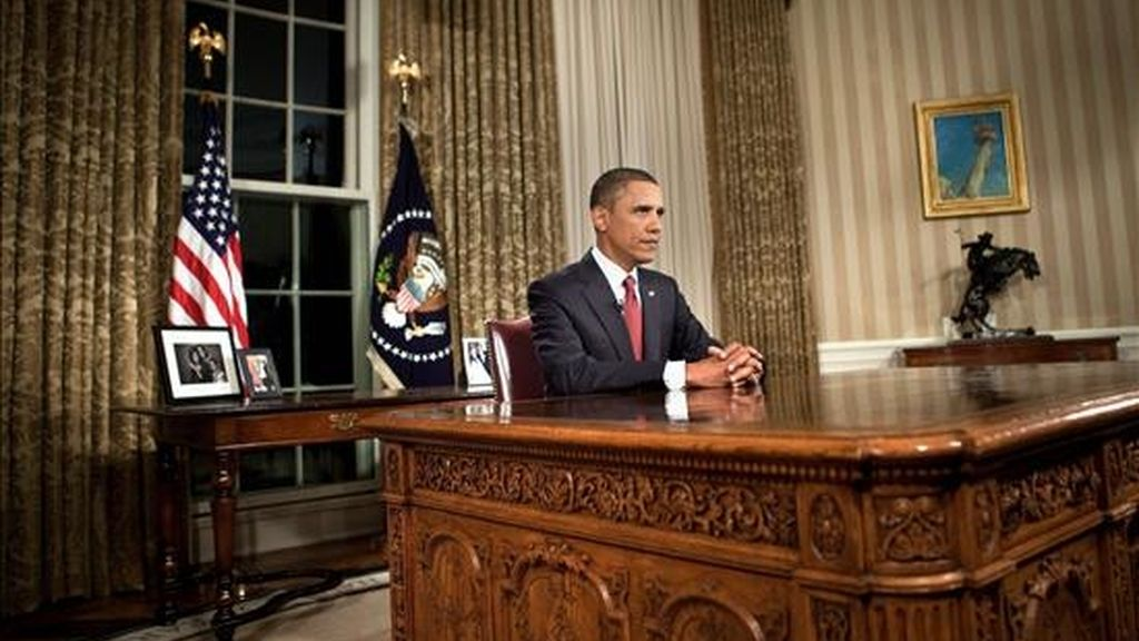 """El presidente de Estados Unidos, Barack Obama, pronuncia un discurso, en la Casa Blanca en Washington D.C (EEUU), en el cual informó sobre el fin de la operación """"Libertad"""" en Irak y la salida de las tropas estadounidenses de este país. EFE"""