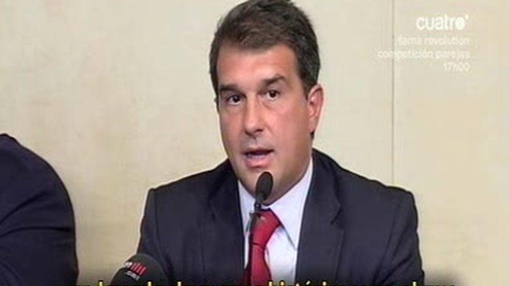 Laporta se defiende en una polémica rueda de prensa