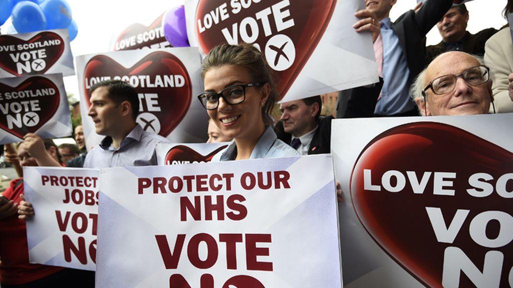 Manifestación en Glasgow, Escocia, de partidarios del 'no' en el referéndum escocés