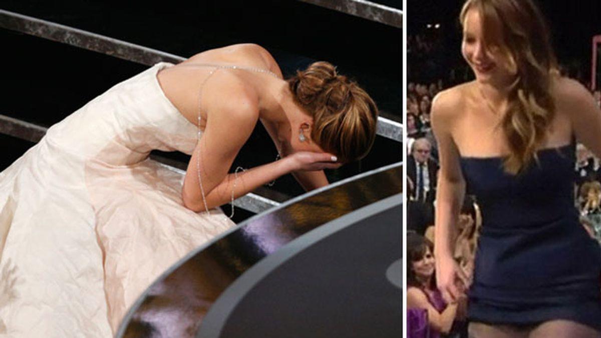 Jennifer Lawrence se cae al subir al escenario para recoger su Oscar