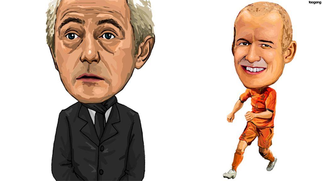 Bert van Marwijk y Arjen Robben (Holanda)
