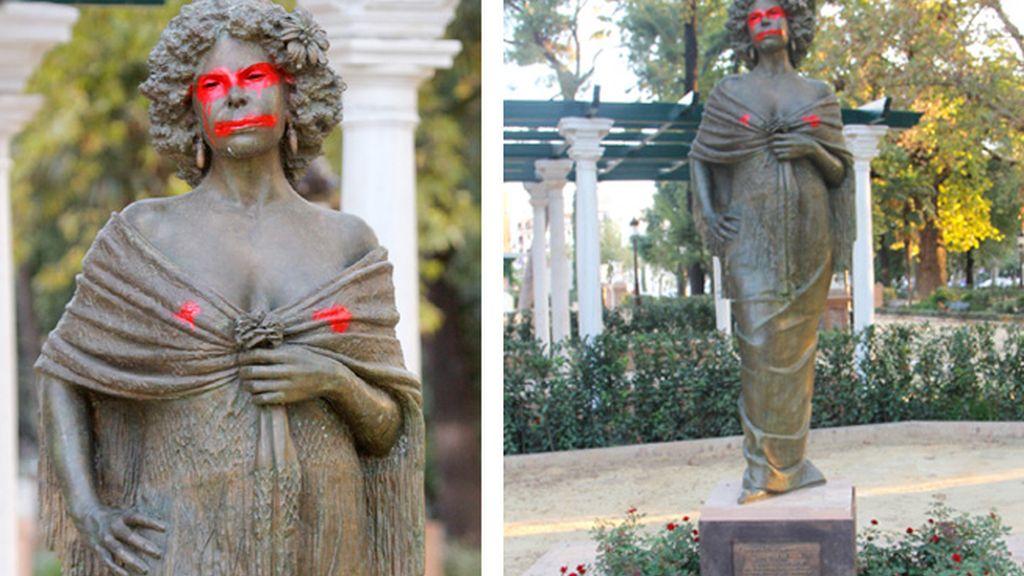 Las pintadas en la escultura de la Duquesa de Alba, en Sevilla.